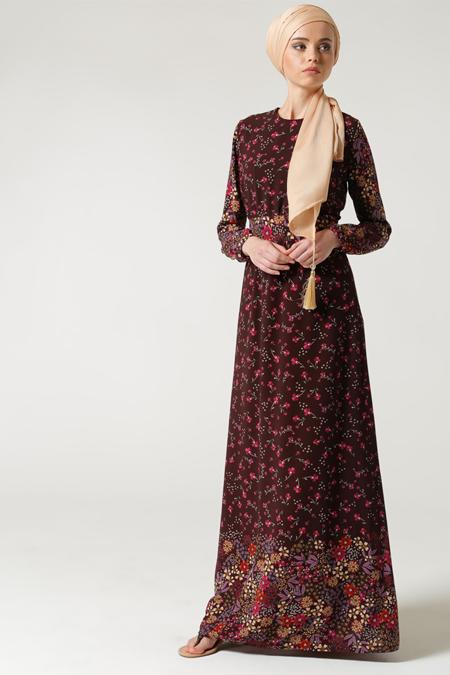 Milda Store Bordo Çiçek Desenli Elbise