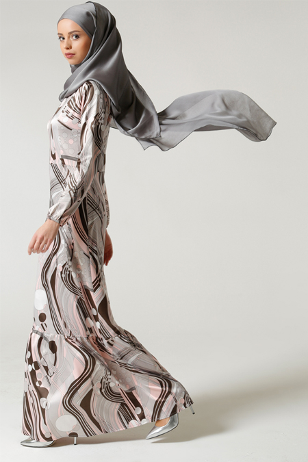Milda Store Gri Pembe Fırfırlı Elbise