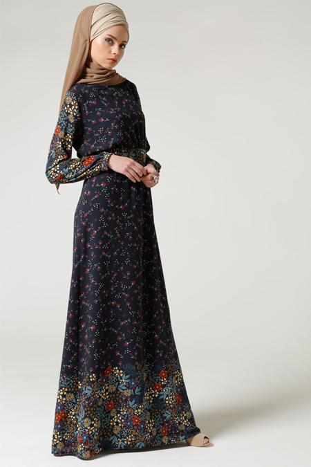 Milda Store Lacivert Çiçek Desenli Elbise