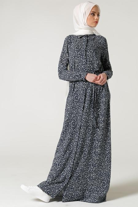 Milda Store Lacivert Desenli Elbise