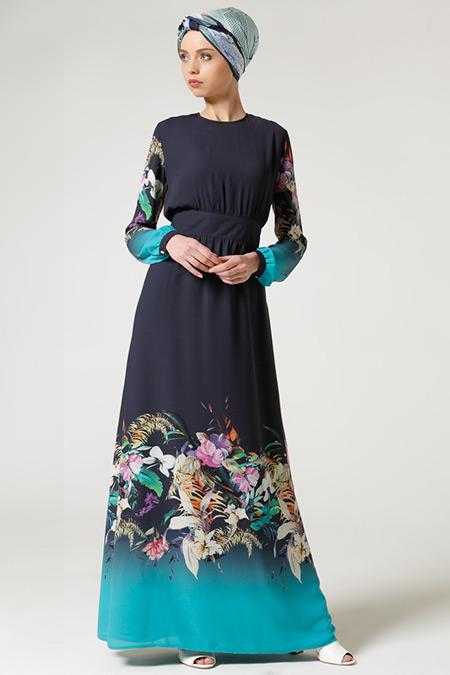Milda Store Lacivert Turkuaz Çiçek Desenli Elbise