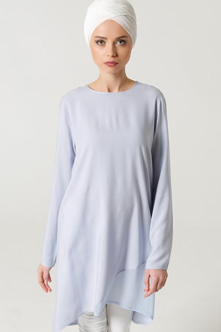Milda Store Mavi Şifon Detaylı Tunik