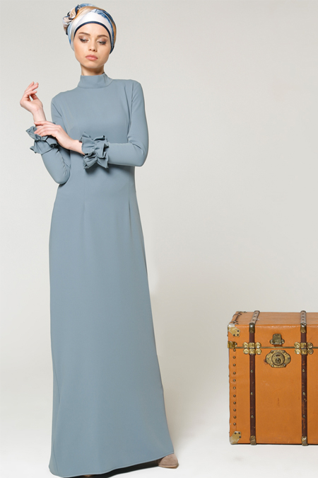 Milda Store Mavi Fırfırlı Elbise