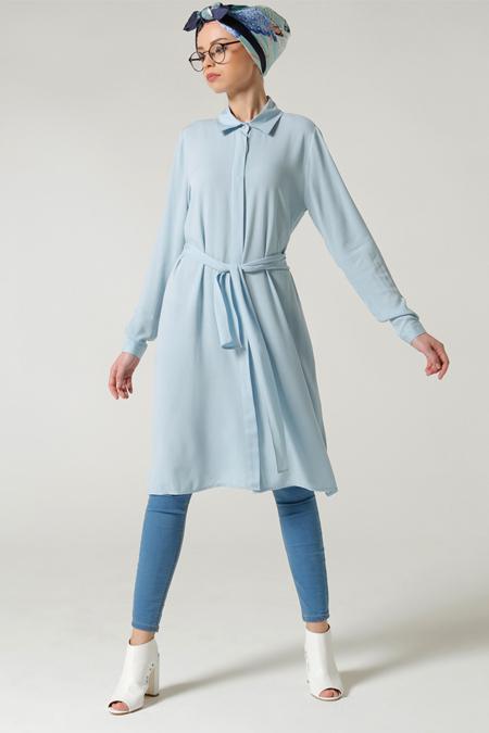 Milda Store Mavi Yırtmaçlı Tunik