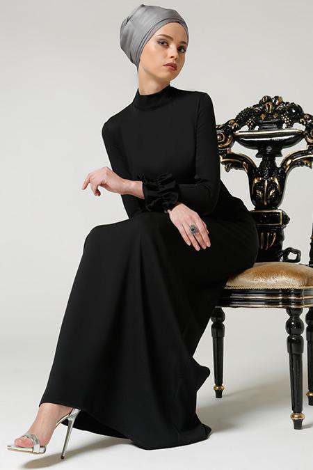 Milda Store Siyah Fırfırlı Elbise