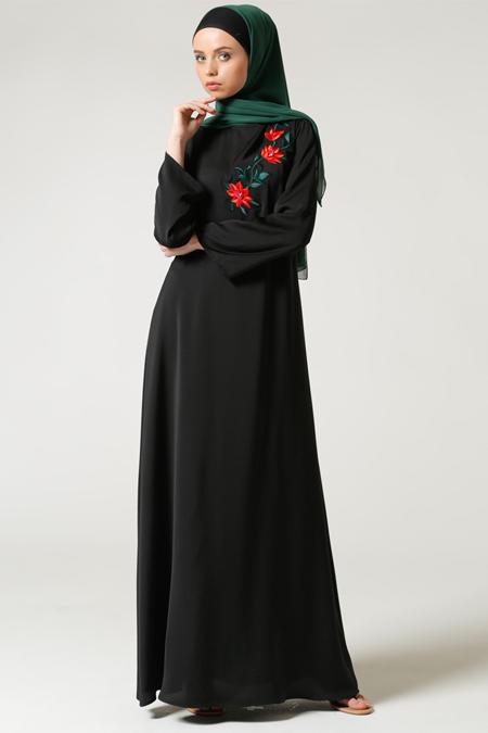 Milda Store Siyah Nakışlı Elbise
