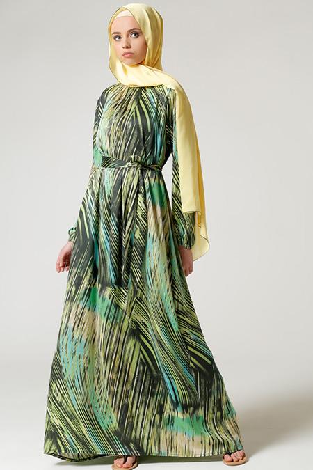 Milda Store Yeşil Önü Büzgülü Elbise