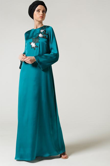 Milda Store Yeşil Nakışlı Elbise