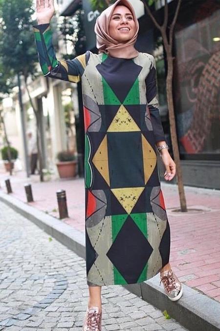 Missemramiss Geometrik Desenli Elbise
