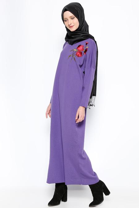 Mocha Triko Mor Nakışlı Triko Elbise