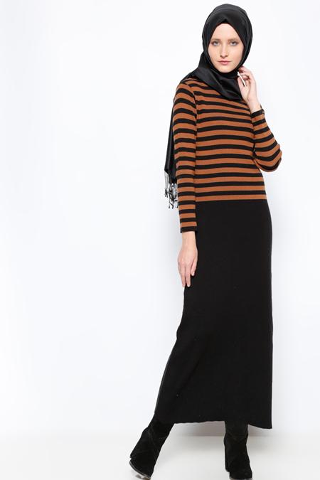 Mocha Triko Siyah Kahve Çizgili Triko Elbise