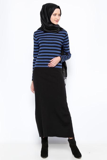 Mocha Triko Siyah Saks Çizgili Triko Elbise