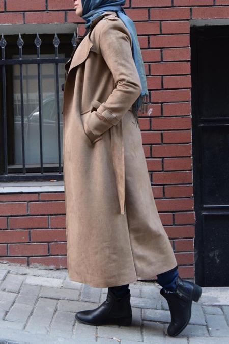 Modelif Süet Trendi Klasik Uzun Trençkot