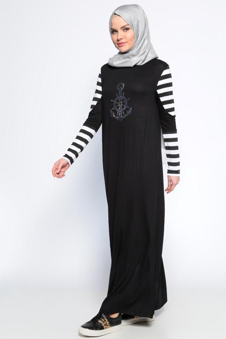 Moonlight Siyah Drop Baskılı Elbise