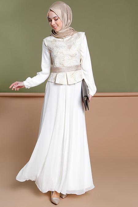 Puane Ekru Jakarlı Abiye Elbise
