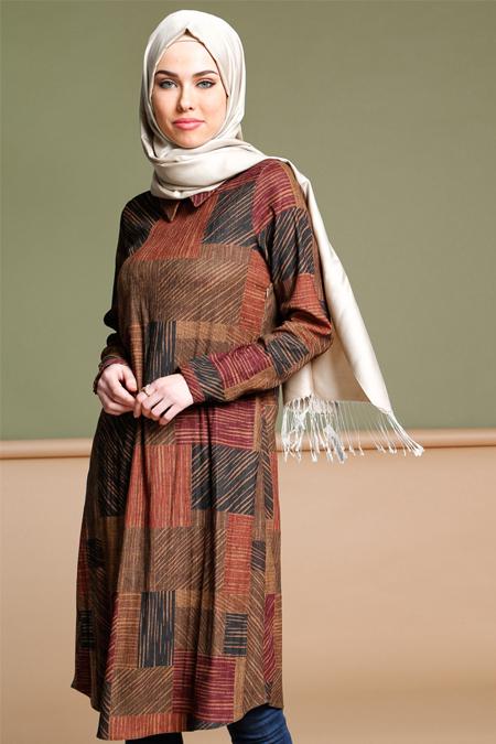 Puane Kahverengi Desenli Tunik