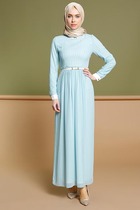 Puane Mavi Çizgili Elbise