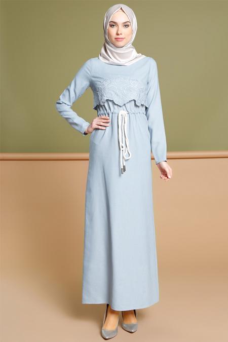 Puane Mavi Beli Bağcıklı Elbise