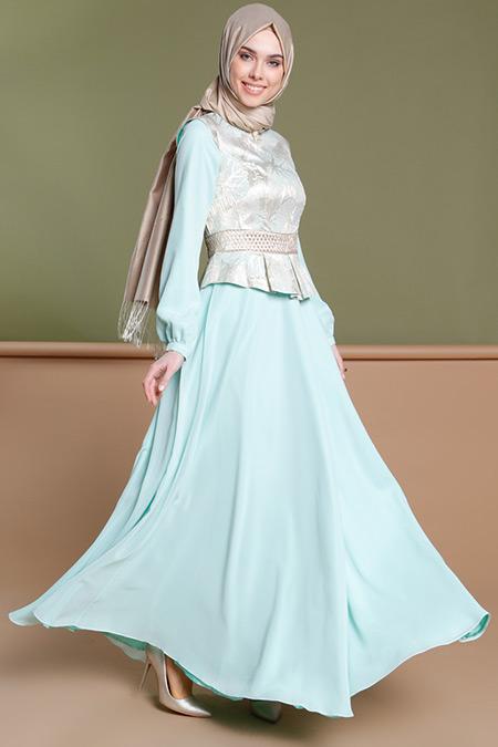 Puane Mint Jakarlı Abiye Elbise