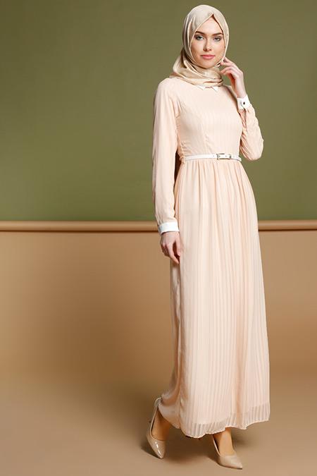 Puane Pudra Çizgili Elbise