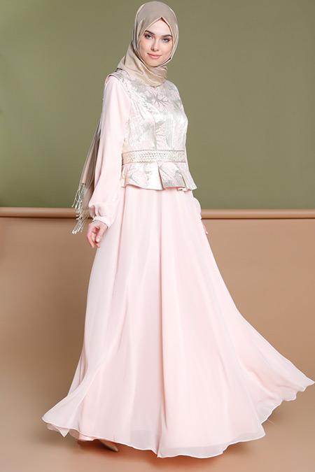 Puane Pudra Jakarlı Abiye Elbise