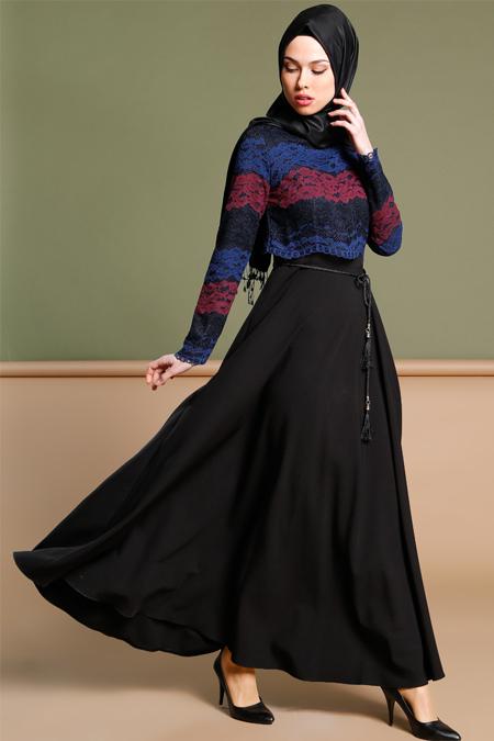 Puane Siyah Dantelli Elbise