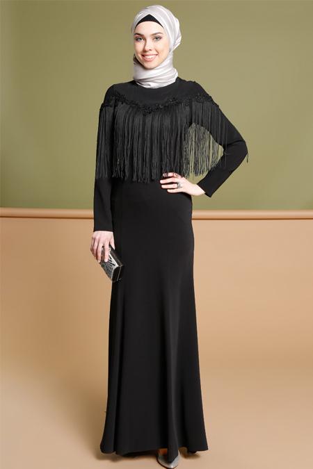 Puane Siyah Püskül Detaylı Abiye Elbise