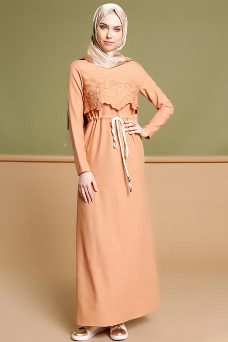 Puane Taba Beli Bağcıklı Elbise