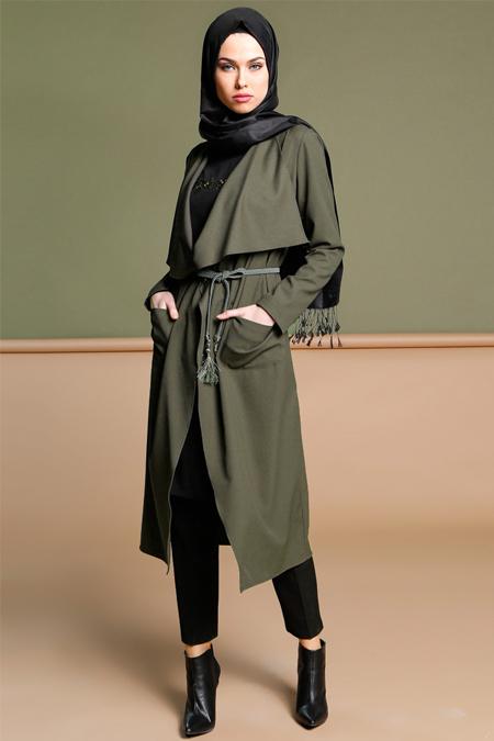 Puane Yeşil Kemerli Uzun Ceket