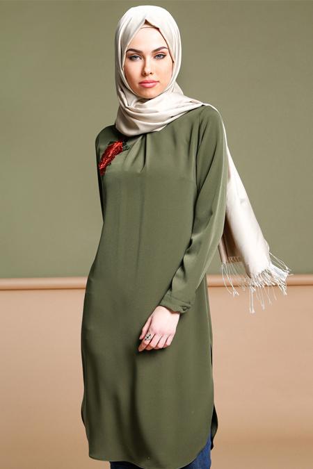 Puane Yeşil Nakışlı Tunik