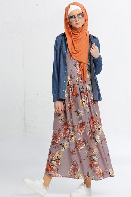 Refka Gri Desenli Jile Elbise