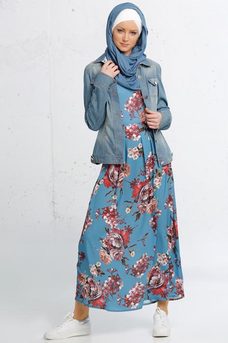 Refka Mavi Desenli Jile Elbise