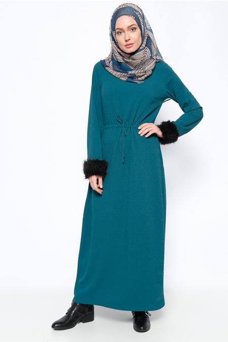 Tuncay Petrol Beli Bağcıklı Elbise