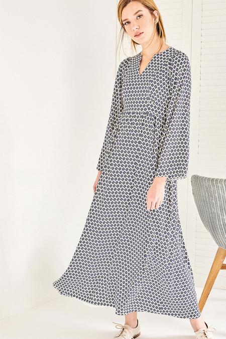 Vavist Ekru Desenli Kol Detaylı Maxi Elbise