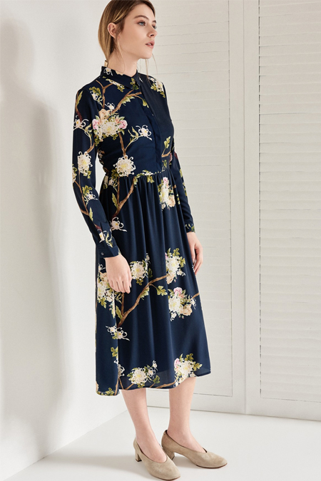Vavist Lacivert Desenli Elbise