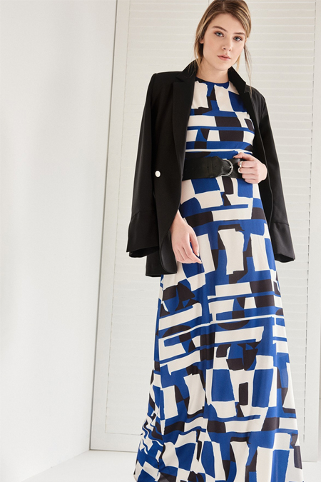 Vavist Lacivert Kolsuz Elbise
