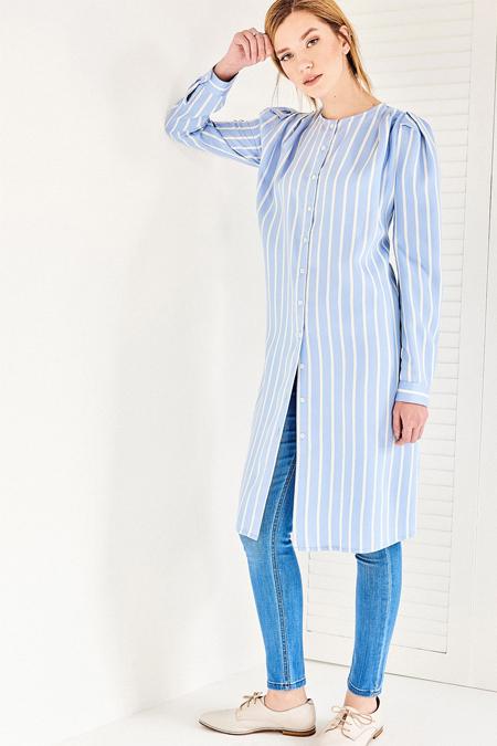 Vavist Mavi Çizgili Kol Detaylı Tunik