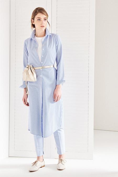 Vavist Mavi Uzun Kol Midi Elbise