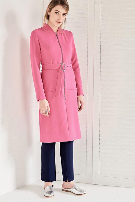 Vavist Pembe Uzun Kol Midi Elbise