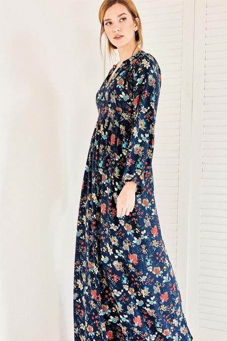 Vavist Siyah Çiçek Desenli Maxi Elbise