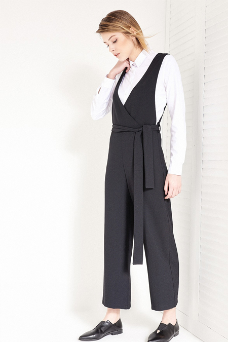 Vavist Siyah Kuşaklı Culotte Tulum