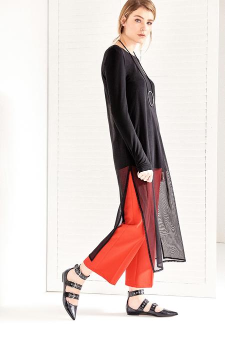Vavist Siyah Uzun Tül Detaylı Tunik