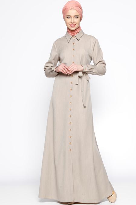Almera Bej Düğmeli Elbise