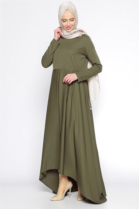 Beha Tesettür Koyu Haki Pile Detaylı Elbise