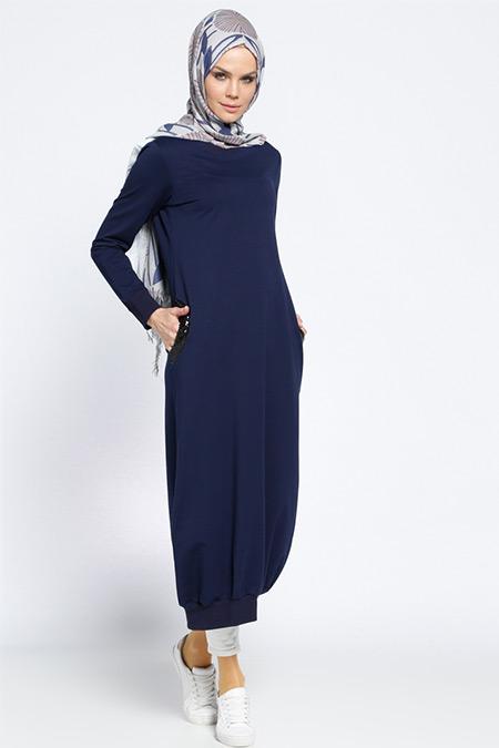 Beha Tesettür Lacivert Cep Detaylı Elbise