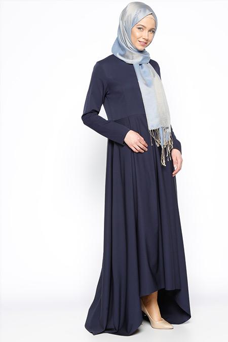 Beha Tesettür Lacivert Pile Detaylı Elbise