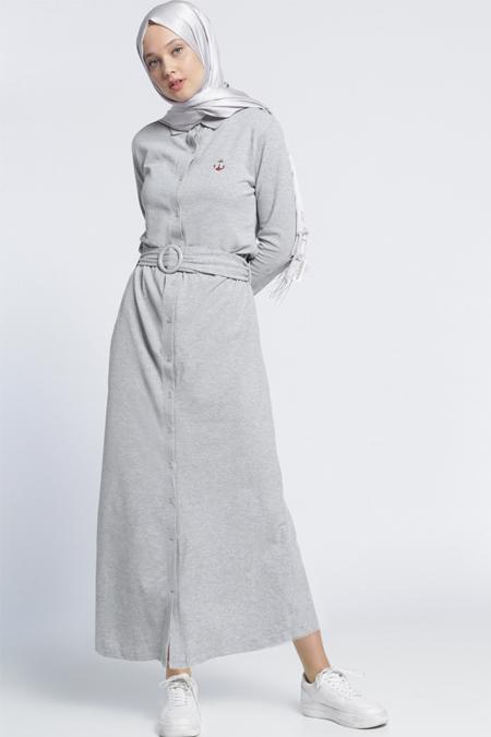 Benin Gri Natürel Kumaşlı Elbise