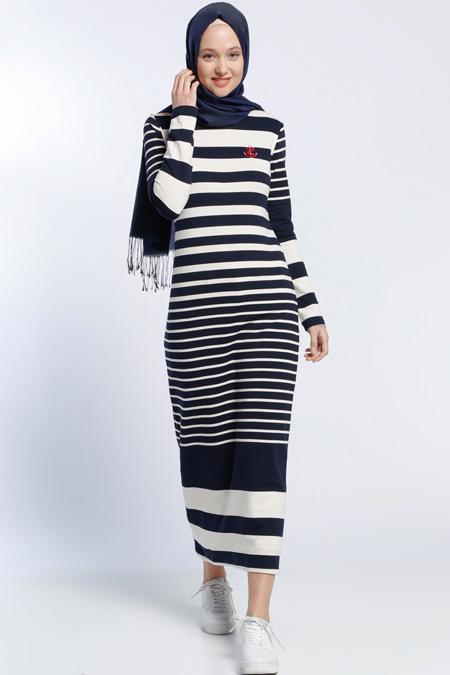 Benin Lacivert Çizgili Elbise
