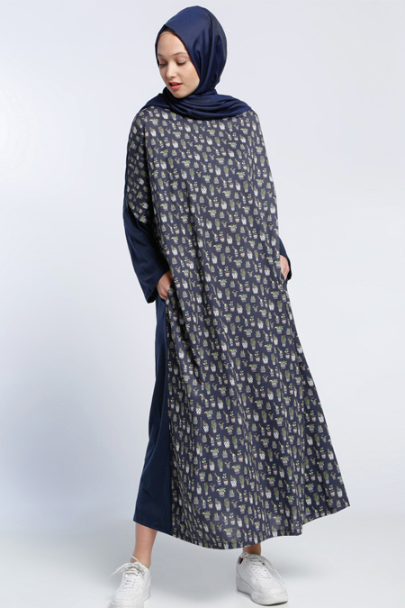 Benin Lacivert Desenli Salaş Elbise