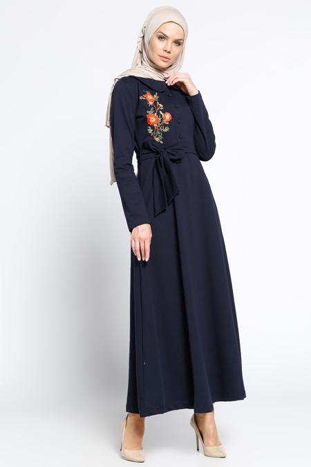 Bwest Lacivert Nakışlı Elbise